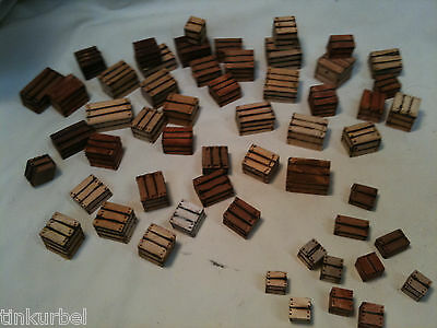 Miniature Crates 6 Piece Variety Solid Wood Block Box Dollhouse Artist Made 1:12