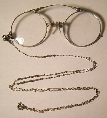 Antique A.O. American Optical Pince Nez Eyeglasses Gold Filled w/Neck Chain