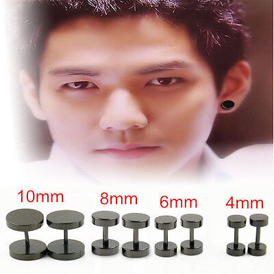 2PCS Round Barbell Stainless Steel Men's Earring Punk Gothic Ear Studs 4 Sizes