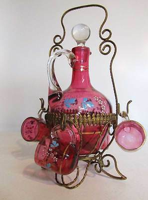 Antique French Napoleon III Granberry Glass Decanter Liquor Set with Stand
