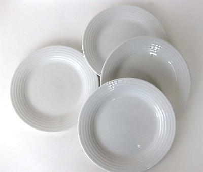 """PRE-OWNED SET OF 4 PCS. WHITE SALAD PLATES BY CASUAL SETTINGS/ ONEIDA """"KENLEY"""""""