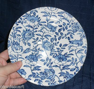Churchill Made in England White Plate Blue Peony Small Plates Floral Design EUC