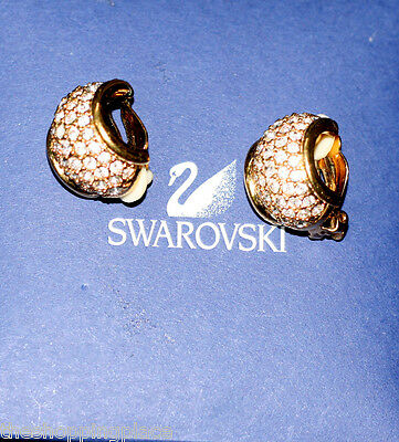 SWAN SWARVOSKI GOLD CLIP EARRINGS SIGNED SWAN CRYSTAL PARTY SPECIAL OCCASION FRE