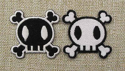 PAIR BLACK & WHITE SKULL & CROSSBONES SMALL  Embroidered Iron On/Sew On Patch