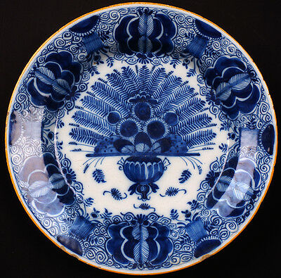 Antique Delft Pottery Charger Bowl Peacock Pattern 18th c Dutch Blue & White