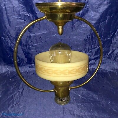 Vintage Brass Fixture Tan Shade Globe Unique Wired