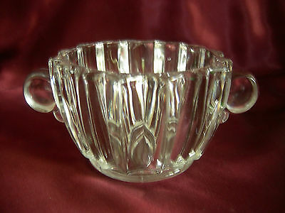 HEISEY Crystolite Fluted Open Sugar Bowl, Round Closed Handles VERY RARE