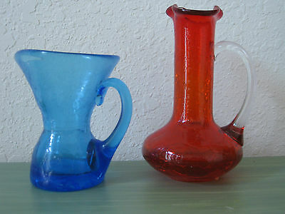 (2) Crackle Glass Vintage Textured Pitchers / Vases -  Blue & Orange/Red