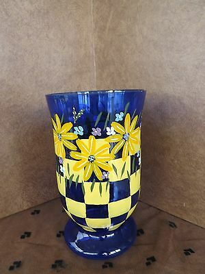 HAND BLOWN COBALT BLUE GLASS VASE HAND PAINTED YELLOW CHECKERBOARD FLORAL