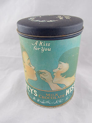 """Vintage 1980 Hershey Milk Chocolate Kisses Can """"A Kiss For You"""""""