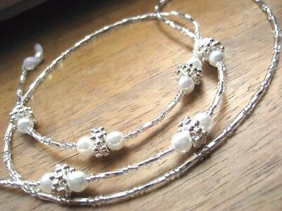 Spectacle Glasses Chain Necklace White Glass Pearl, Silver Beaded Handmade UK