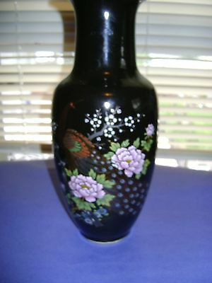 Japanese Black Vase Hand Painted Floral And Peacocks Marked Bottom