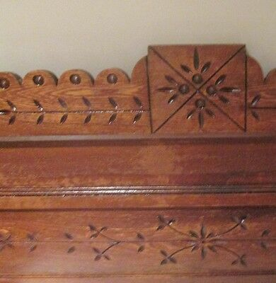 """Antique Fancy Headboard Bed Crown Chip Carved Butter Print 56 7/8 x 20 1/4"""""""