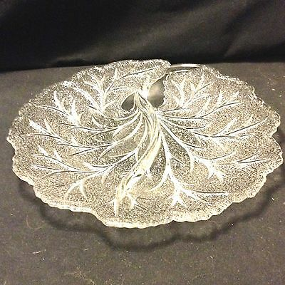 """VINTAGE GLASS RELISH OR DIP PLATE BEAUTIFUL LEAF PATTERN ABOUT 10"""""""
