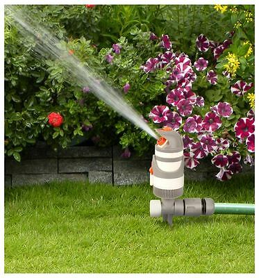 Quantum Garden-Two-Stage Gear Drive Sprinkler-Water Garden Pipe Tube -White Line