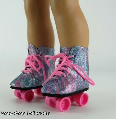 "Glitter Rainbow Colorful Roller Skates Skating Shoes Fits 18"" American Girl Doll"