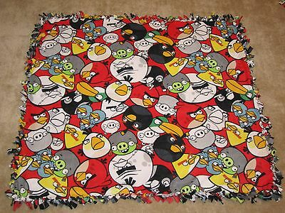 """Angry Birds Fleece Tie Blanket, Baby to Toddler Size, 43"""" X 50"""", Handcrafted"""