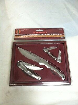 New in box  Winchester 2008 Limited Edition Wood Inlay 3 knife set