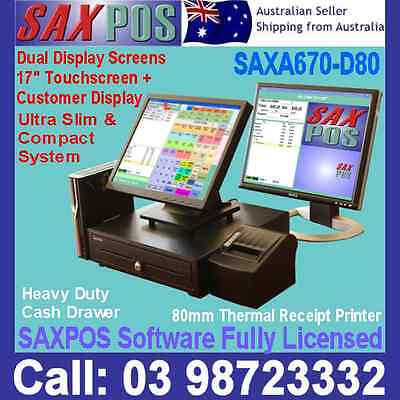 SAXPOS S2303 DUALSCREEN SAXA670-D80 POS (Point of Sale) System with Software