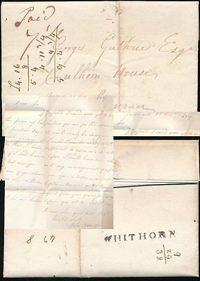 SCOTLAND 1837 WHITHORN ONE LINE NAMESTAMP + LETTER re FARM..BROADFOOT to GUTHRIE