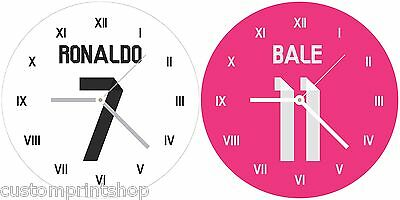 REAL MADRID style Round Glass WALL CLOCK personalised football shirt kit type