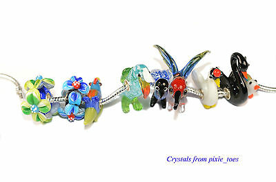 Birds Flowers Handmade Murano Glass Lampwork Charm Bead, Big Hole European Style