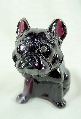 """2.5"""" French Bulldog Amethyst Purple Glass With A Slight White Marble Slag"""
