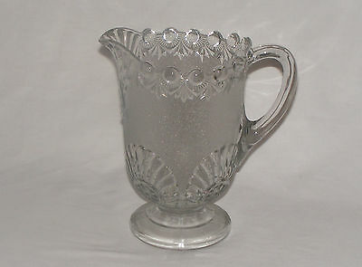 """ANTIQUE EARLY CANADIAN NUGGET LARGE PRESSED GLASS 8 1/2"""" JUG PITCHER"""