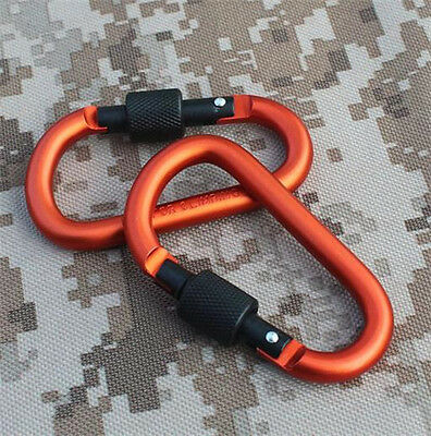 1P Orange Aluminum Carabiner Outdoor Climbing D-Ring Key Chain Clip Hook G585