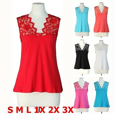 Floral Lace Yoke Sleeveless Cotton V Neck Sexy Solid T-Shirt Top S M L 1X 2X 3X