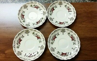 "MYOTT Bouquet 5 1/2"" Saucers(4) Made in Staffordshire England Red & Blue Flowers"