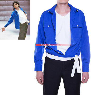 Michael Jackson Costume The Way You Make Me Feel Shirt Blue-Free Belt