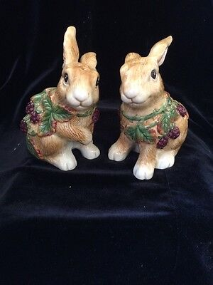 Fitz and Floyd  Fitz and Floyd Blackberry Rabbit Salt and Pepper Shakers