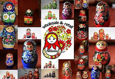 Russian nesting doll. 20 Set of 5 matryoshka doll.Different colors. Mix.