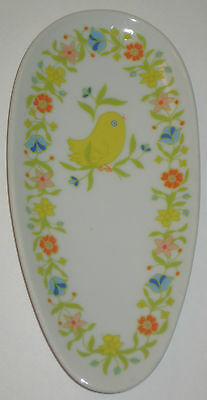 DARLING Yellow CHICK w/FLOWERS on EGG Shape SPOON REST Vintage JAPAN Pottery