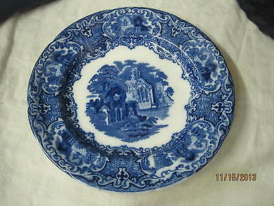 Antique George Jones & Sons England Abbey 1790 Dessert plate Flow Blue