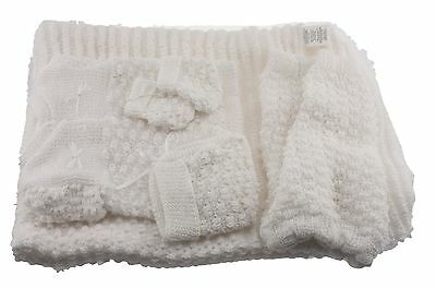 6 pc Crochet Baby Set popcorn style Blanket Pants Sweater Hat Booties - white