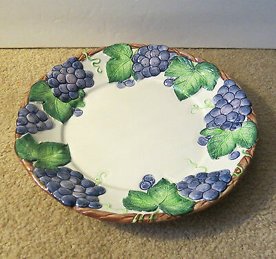 RETIRED 1989 GRAPE ARBOR FITZ and FLOYD  DINNER PLATE 11""