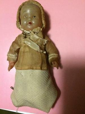 """Vintage 6 1/2"""" Celluloid Baby Doll in Lovely Original Outfit"""