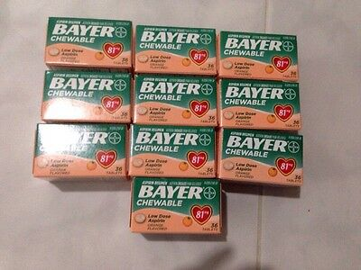 (10) Bayer Aspirin Low Dose 81mg Chewable-orange Flavored 36ct Ea Pain Reliver