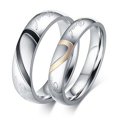 Real Love Stainless Steel Heart Couples Promise Engagement Ring Wedding Band