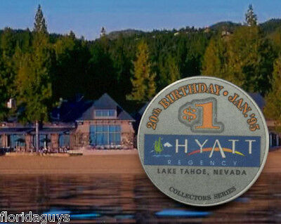 HYATT REGENCY CASINO - $1 GAMING CHIP - LAKE TAHOE NV - 20TH BIRTHDAY 1995