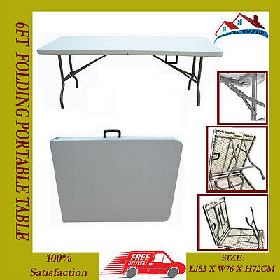 New Folding Table Camping Picnic Party Outdoor Garden 6Ft Foldable Buffet Tables