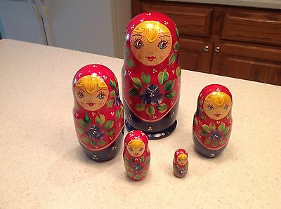 Vintage Nesting Dolls Lady Girl Blond Hair Red Blue Hand Painted EUC!!!!