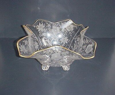 Cambridge Glass Wildflower Etched Centerpiece Bowl Ruffled Edge Footed