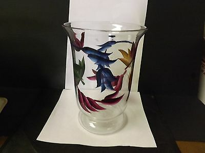 HAND PAINTED FLORAL CLEAR ART GLASS HAND BLOWN VASE