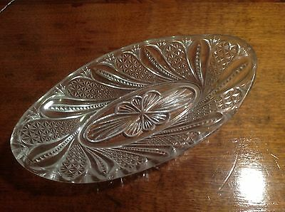 Vintage Cut / Pressed Glass Canoe Shaped Candy Or Nut Dish