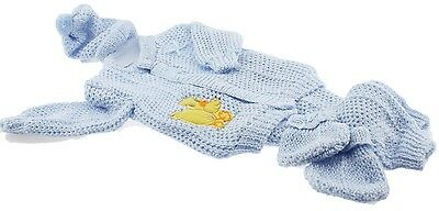 Blue Crochet New born Baby set yellow duck design pants sweater booties hat