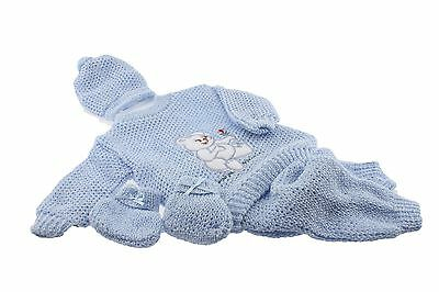 Blue Crochet New born Baby set bear design pants sweater booties hat