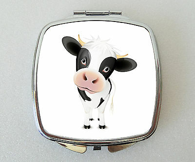 COW Compact Mirror Fun Handbag Travel Beauty Cosmetic Makeup Novelty Gift